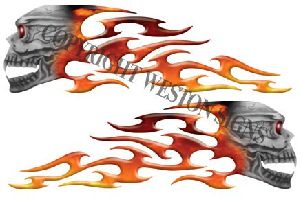 Real Fire Gas Tank Tribal Skull Flames