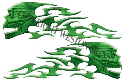 Green Gas Tank Tribal Skull Flames