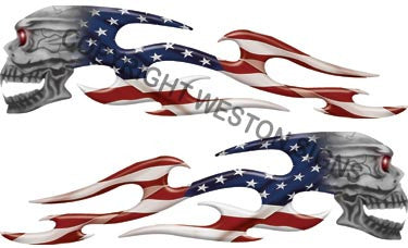 American Flag Tribal Skull Flames