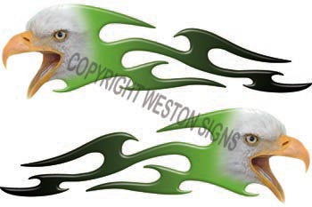 Tribal Light Green Eagle Flames
