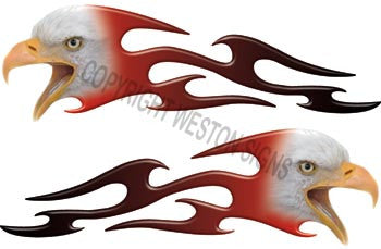 Tribal Red Fade Eagle Flames