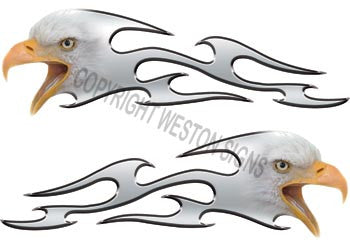 Tribal Silver Eagle Flames