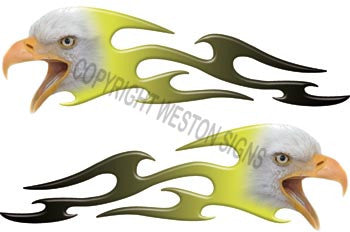 Tribal Yellow Fade Eagle Flames