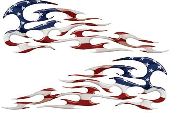 American Flag Tribal Motorcycle Gas Tank Custom Digitally Airbrushed Flames