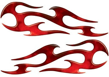 Red Real Fire Tribal Motorcycle Side Cover, Tank or Helmet Custom Digitally Airbrushed Flames