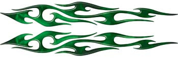 Green Real Fire Thin Tribal Accent Flames