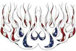 American Flag Old School Retro Style Flames