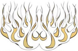 Gold Old School Retro Style Flames