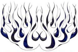 Blue Inferno Old School Retro Style Flames