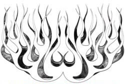 Gray Inferno Old School Retro Style Flames
