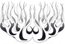 Silver Old School Retro Style Flames