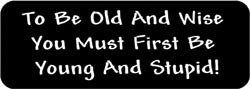 To be old and wise you must first be young and stupid! Biker Helmet Sticker