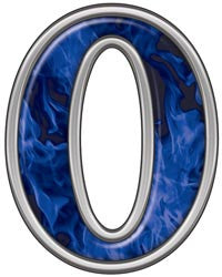 Reflective Number 0 with Inferno Blue Flames