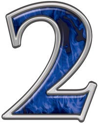 Reflective Number 2 with Inferno Blue Flames