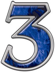 Reflective Number 3 with Inferno Blue Flames