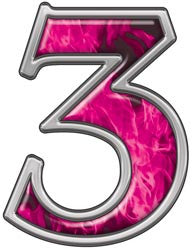 Reflective Number 3 with Inferno Pink Flames