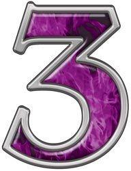 Reflective Number 3 with Inferno Purple Flames