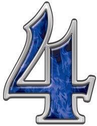 Reflective Number 4 with Inferno Blue Flames