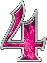 Reflective Number 4 with Inferno Pink Flames