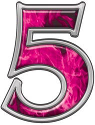 Reflective Number 5 with Inferno Pink Flames
