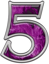 Reflective Number 5 with Inferno Purple Flames