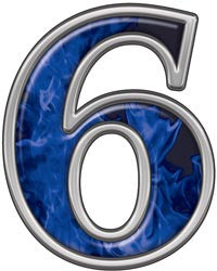 Reflective Number 6 with Inferno Blue Flames