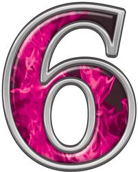 Reflective Number 6 with Inferno Pink Flames