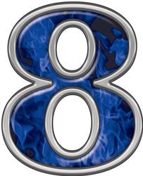 Reflective Number 8 with Inferno Blue Flames