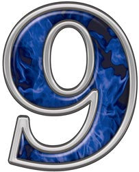 Reflective Number 9 with Inferno Blue Flames