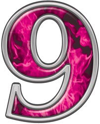Reflective Number 9 with Inferno Pink Flames