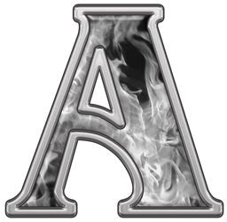 Reflective Letter A with Inferno Gray Flames