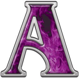 Reflective Letter A with Inferno Purple Flames