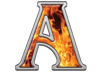 Reflective Letter A with Inferno Flames