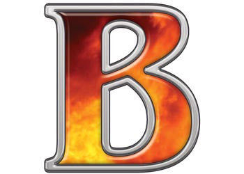 Reflective Letter B with Real Fire