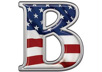 Reflective Letter B with Flag