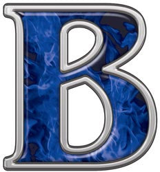 Reflective Letter B with Inferno Blue Flames