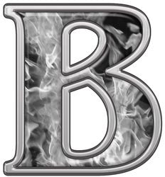 Reflective Letter B with Inferno Gray Flames