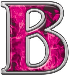 Reflective Letter B with Inferno Pink Flames