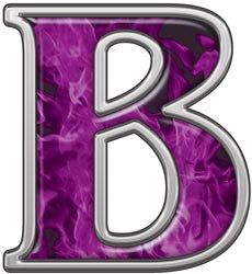 Reflective Letter B with Inferno Purple Flames