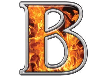 Reflective Letter B with Inferno Flames