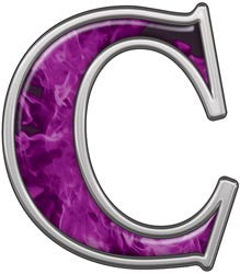 Reflective Letter C with Inferno Purple Flames