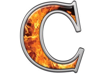 Reflective Letter C with Inferno Flames