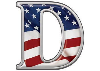 Reflective Letter D with Flag