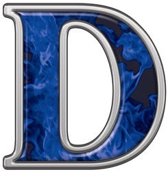 Reflective Letter D with Inferno Blue Flames