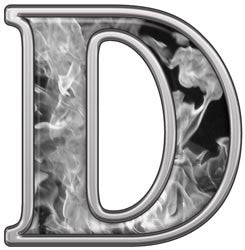 Reflective Letter D with Inferno Gray Flames