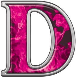 Reflective Letter D with Inferno Pink Flames