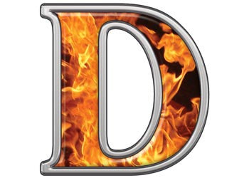 Reflective Letter D with Inferno Flames