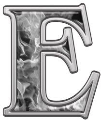 Reflective Letter E with Inferno Gray Flames
