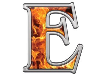 Reflective Letter E with Inferno Flames