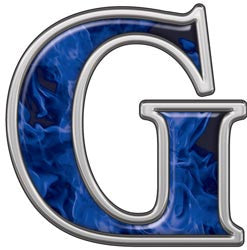 Reflective Letter G with Inferno Blue Flames